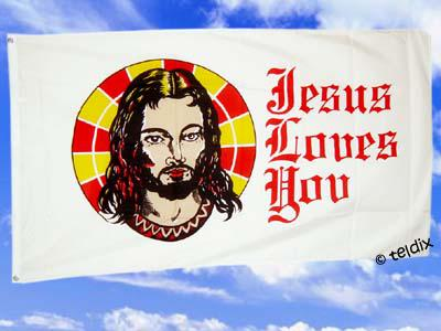 Fahne Flagge JESUS LOVES YOU 150 x 90 cm