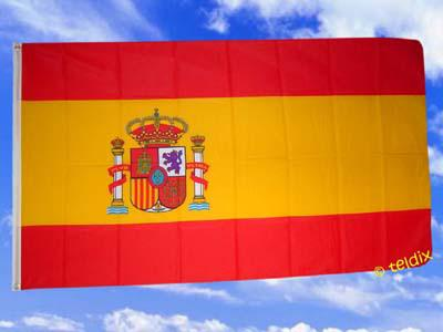 Fahne Flagge SPANIEN MIT WAPPEN 150 x 90 cm