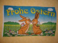 Fahne Flagge FROHE OSTERN OSTERHASEN 150 x 90 cm