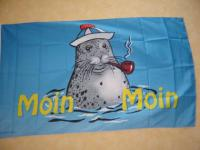Fahne Flagge SEEHUND MIT PFEIFE 150 x 90 cm