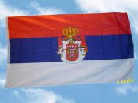Fahne Flagge SERBIEN MIT WAPPEN 150 x 90 cm
