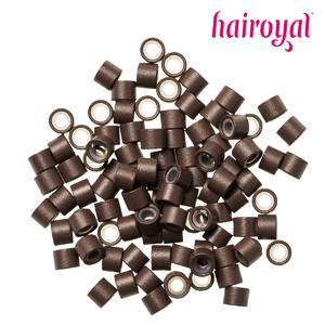 Hairoyal® Silikon-Microrings - 100 Stück - medium brown