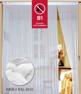 Fadenvorhang 200 cm x 300 cm (BxH) weiß in B1 schwer entflammbar