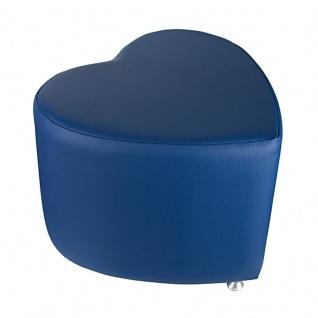 Sitzhocker - Sitzwürfel Herzform Blau mit Aluminium Gleiter