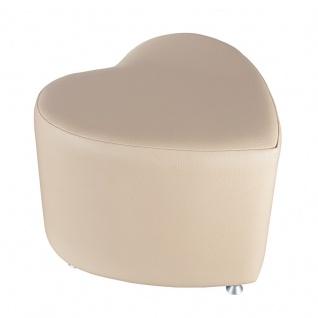 Sitzhocker - Sitzwürfel Herzform Creme mit Aluminium Gleiter