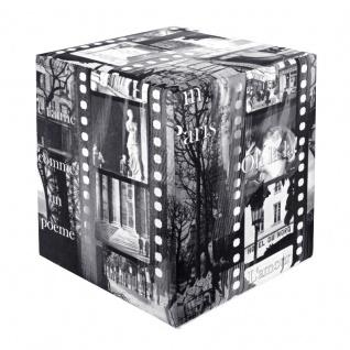 Sitzwürfel bedruckt Paris schwarz-weiß 35 cm x 35 cm x 42 cm