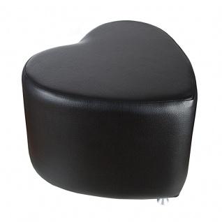 Sitzhocker - Sitzwürfel Herzform Schwarz mit Aluminium Gleiter