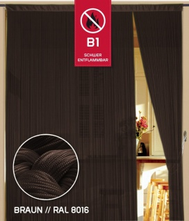 Fadenvorhang 150 cm x 300 cm (BxH) braun in B1 schwer entflammbar