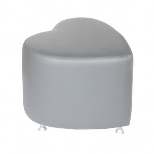 Sitzhocker - Sitzwürfel Herzform Hellgrau mit Aluminium Gleiter