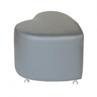 Sitzhocker - Sitzwürfel Herzform Dunkelgrau mit Aluminium Gleiter