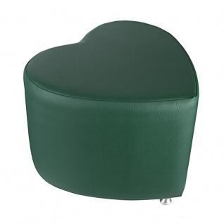 Sitzhocker - Sitzwürfel Herzform Dunkelgrün mit Aluminium Gleiter