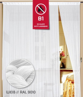 Fadenvorhang 100 cm x 500 cm (BxH) weiß in B1 schwer entflammbar