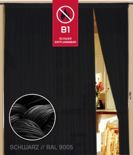 Fadenvorhang 090 cm x 240 cm (BxH) schwarz in B1 schwer entflammbar