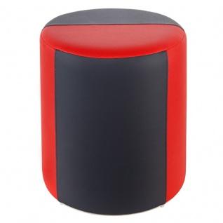 Sitzhocker 2-farbig rot-dunkelgrau Ø34 x 44cm