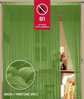 Fadenvorhang 090 cm x 240 cm (BxH) grün in B1 schwer entflammbar