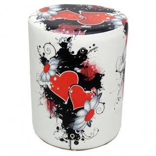 Sitzhocker bedruckt Motiv rote Herzen Sitzhöhe 44 cm
