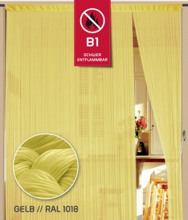 Fadenvorhang 090 cm x 240 cm (BxH) gelb in B1 schwer entflammbar