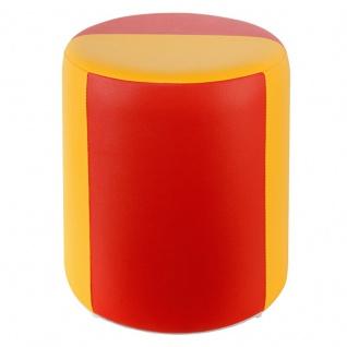 Sitzhocker 2-farbig gelb-rot Ø34 x 44cm
