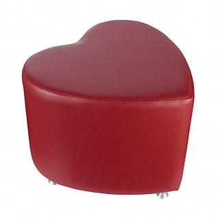 Sitzhocker - Sitzwürfel Herzform Bordeaux mit Aluminium Gleiter