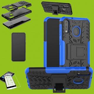 Für Huawei P30 Lite Hybrid Case Tasche Outdoor 2teilig Blau + H9 Glas Etuis Neu
