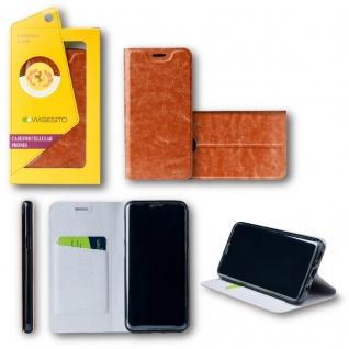 Für Huawei P20 Lite Flip / Smart Cover Braun Case Schutz Etui Tasche Hülle Neu