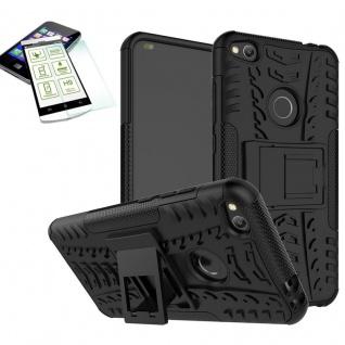 Hybrid Case Tasche Outdoor 2teilig Schwarz für Huawei P8 Lite 2017 + Hartglas