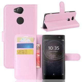 Tasche Wallet Premium Rosa für Sony Xperia XA2 Hülle Case Cover Schutz Etui Neu