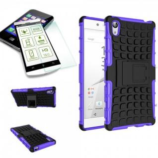 Hybrid Case 2 teilig Lila für Sony Xperia Z5 5.2 Zoll + 0, 3 H9 Hartglas Tasche - Vorschau 1