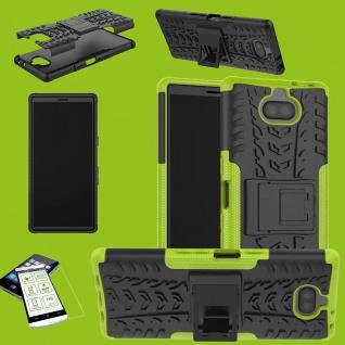 Für Sony Xperia 10 Hybrid Case 2 teilig Grün Hülle + 0, 3 mm H9 Glas Tasche Etuis