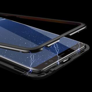 Für Huawei P Smart Plus Magnet / Metall Glas Rot / Transparent Tasche Hülle Case - Vorschau 2