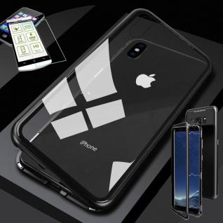 Für Apple iPhone XS MAX Magnet Glas Tasche Schwarz / Transparent + 0, 26 H9 Glas