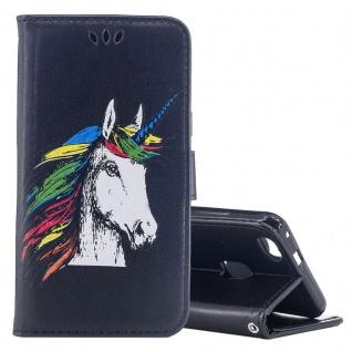Tasche Wallet Einhorn Schwarz für Huawei P10 Lite Hülle Case Cover Etui Schutz