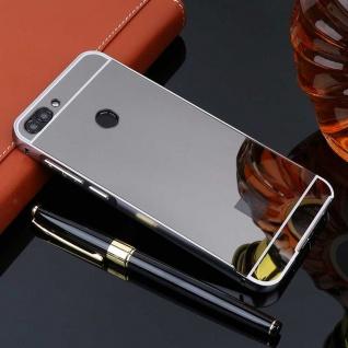 Spiegel / Mirror Alu Bumper 2teilig Schwarz für Huawei P Smart Tasche Hülle Neu