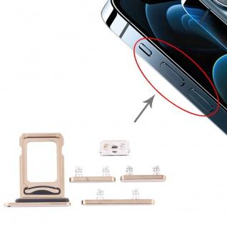 Dual Sim Karten Halter und Power/Lautstärke Button Apple iPhone 12 Pro Max Gold