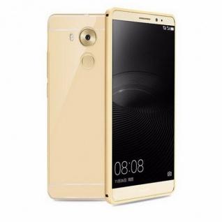 Alu Bumper 2 teilig mit Abdeckung Gold für Huawei Mate 8 Tasche Hülle Cover Case