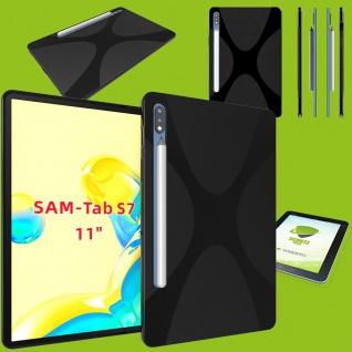 Silikon Hülle Tablet Tasche Schwarz für Samsung Galaxy Tab S7 T870 / T875 + Glas