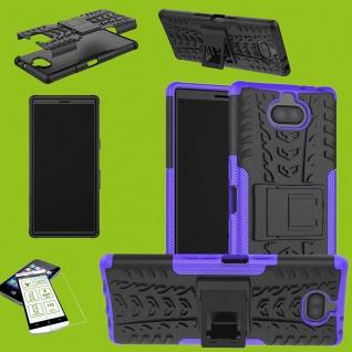 Für Sony Xperia 10 Hybrid Case 2 teilig Lila Hülle + 0, 3 mm H9 Glas Tasche Etuis