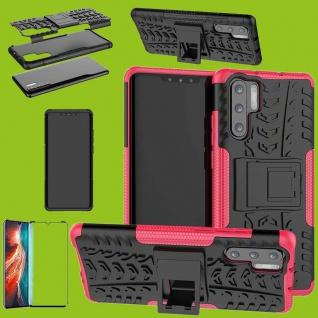 Für Huawei P30 Pro Hybrid Tasche Etuis 2teilig Pink Hülle + 4D Curved H9 Glas