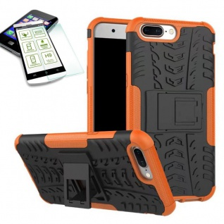 Hybrid Case Tasche Outdoor 2teilig Orange für ONEPlus 5 Hülle + Hartglas Etui
