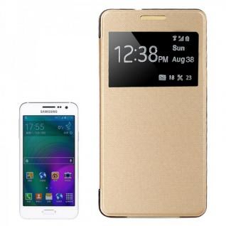 Smartcover Window Gold für Samsung Galaxy A3 A300 A300F Cover Tasche Hülle Case