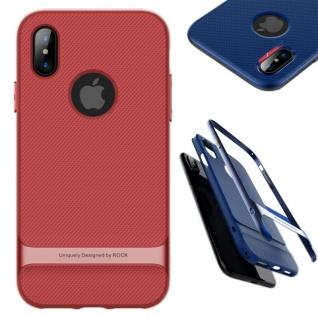 Original ROCK Silikon Case Tasche Schwarz / Rot für Apple iPhone X / 10 Hülle