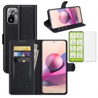 Für Xiaomi Redmi Note 10 Pro Handy Tasche Kunst-Leder Schwarz Etuis + H9 Glas