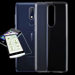 Silikoncase Transparent Tasche + 0, 3 H9 2.5 Glas für Nokia 5.1 2018 Hülle Cover