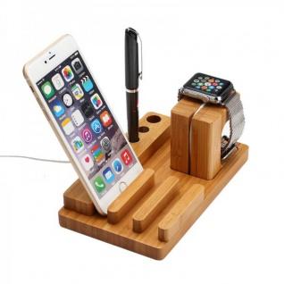 Docking Station Ladestation Bambus Tisch Ständer für iPad iWatch iPhone 5 6 6S + - Vorschau 3