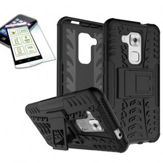 Hybrid Case Tasche Outdoor 2teilig Schwarz für Huawei Nova Plus + Hartglas Neu