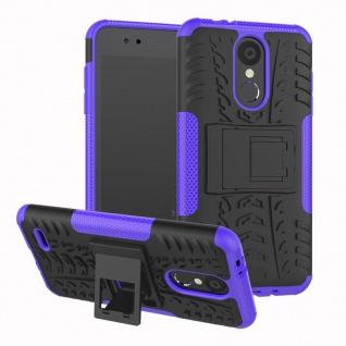 Für LG K9 2018 Hybrid Case 2teilig Outdoor Lila Etui Tasche Hülle Cover Schutz