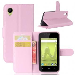 Tasche Wallet Premium Rosa für Wiko Sunny 2 Hülle Case Cover Etui Schutz Zubehör