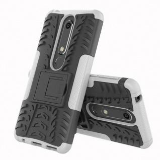 Für Nokia 6 5.5 2018 Hybrid Case 2teilig Outdoor Weiß Tasche Hülle Cover Etui