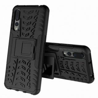 Für Huawei P Smart Plus Hybrid Case 2teilig Outdoor Schwarz Tasche Hülle Cover