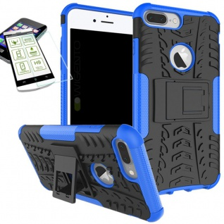 Hybrid Tasche Outdoor 2teilig Blau für Apple iPhone 8 7 Plus 5.5 Hülle + Glas